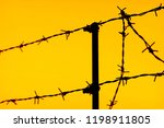 silhouette of a fence of barbed ... | Shutterstock . vector #1198911805