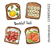 different toast ideas for... | Shutterstock .eps vector #1198924522