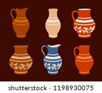 set of ceramic crockery.... | Shutterstock .eps vector #1198930075