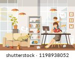 working mother concept. busy... | Shutterstock .eps vector #1198938052