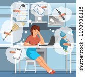 working mother concept. busy... | Shutterstock .eps vector #1198938115