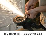 carpentry workshop. hands... | Shutterstock . vector #1198945165