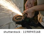 carpentry workshop. hands... | Shutterstock . vector #1198945168