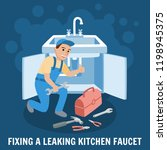 fixing leaking kitchen faucet.... | Shutterstock .eps vector #1198945375