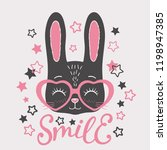 cute black rabbit face with... | Shutterstock .eps vector #1198947385