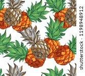 pineapple. seamless vector... | Shutterstock .eps vector #1198948912