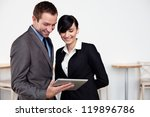 Happy Business people with digital tablet. - stock photo