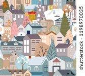 seamless christmas landscape in ... | Shutterstock .eps vector #1198970035