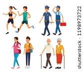 set city people walking cartoons | Shutterstock .eps vector #1198973722