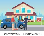 house for sale. man broker and... | Shutterstock .eps vector #1198976428
