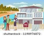 house for sale. woman broker... | Shutterstock .eps vector #1198976872