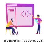 programmers with laptop coding... | Shutterstock .eps vector #1198987825