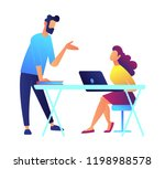 university teacher speaking and ... | Shutterstock .eps vector #1198988578