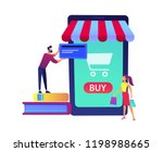 a couple shopping online with... | Shutterstock .eps vector #1198988665