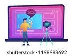 blogger recording video blog...   Shutterstock .eps vector #1198988692