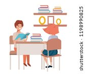 young students sitting in...   Shutterstock .eps vector #1198990825