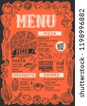 pizza menu template for... | Shutterstock .eps vector #1198996882