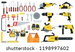 tools for building construction ... | Shutterstock .eps vector #1198997602