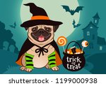 halloween pug dog dressed as... | Shutterstock .eps vector #1199000938