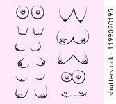 types of women's breasts.  ... | Shutterstock .eps vector #1199020195