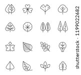 tree and leaf line icons set.... | Shutterstock .eps vector #1199022682