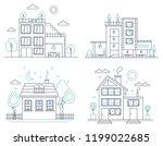thin line countryside suburban... | Shutterstock .eps vector #1199022685