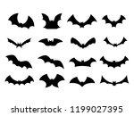 halloween bat silhouette vector ... | Shutterstock .eps vector #1199027395