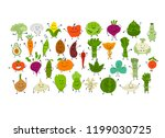 funny smiling vegetables and... | Shutterstock .eps vector #1199030725