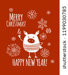 christmas card with funny pig ...   Shutterstock .eps vector #1199030785