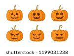 set of halloween pumpkin with... | Shutterstock .eps vector #1199031238