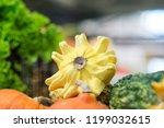 different pumpkins on city... | Shutterstock . vector #1199032615