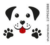 dog muzzle with paws on a white ...   Shutterstock .eps vector #1199032888