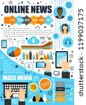 mass media and online news...   Shutterstock .eps vector #1199037175