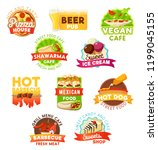 fast food vector icons.... | Shutterstock .eps vector #1199045155
