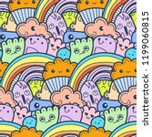 funny doodle monsters seamless... | Shutterstock .eps vector #1199060815