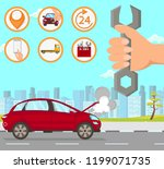 car repair in city. driver... | Shutterstock .eps vector #1199071735