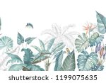 A collection of watercolor tropical leaves and scenes.