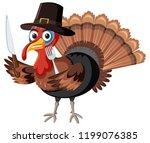 thanksgiving turkey character... | Shutterstock .eps vector #1199076385