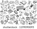 school and education doodles... | Shutterstock . vector #1199090095
