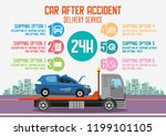 car after accident delivery... | Shutterstock .eps vector #1199101105