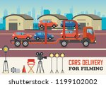 cars delivery for filming... | Shutterstock .eps vector #1199102002