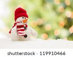 Cute Snowman Over Green And...