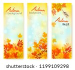 three autumn sale banners with... | Shutterstock .eps vector #1199109298