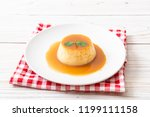 homemade caramel custard...   Shutterstock . vector #1199111158