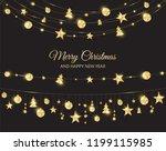 christmas golden decoration on... | Shutterstock .eps vector #1199115985