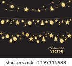 christmas golden decoration on... | Shutterstock .eps vector #1199115988