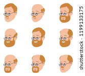 flat vector icon set. faces of... | Shutterstock .eps vector #1199133175