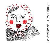 hand drawn sketch. plump girl... | Shutterstock .eps vector #1199140888