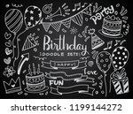 happy birthday background. hand ...   Shutterstock .eps vector #1199144272