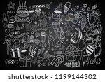 happy birthday background. hand ... | Shutterstock .eps vector #1199144302